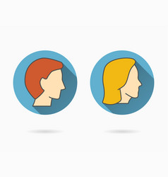 Male and female face icons for graphic and web vector