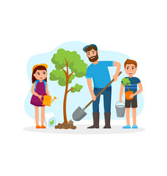 man and children plant a tree and watering vector image
