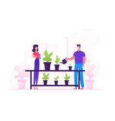 Man and woman in medical masks spraying flowers vector