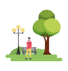 man using mobile in the park vector image