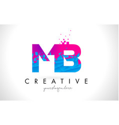 Mb m b letter logo with shattered broken blue vector