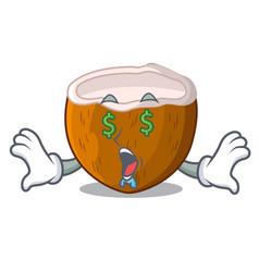 Money eye half coconut isolated on the mascot vector