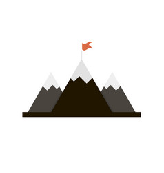 mountains with red flag on top logo vector image