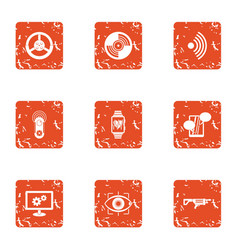 Operative intervention icons set grunge style vector