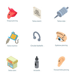 Outward appearance icons set isometric style vector