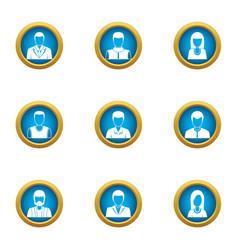 representative icons set flat style vector image