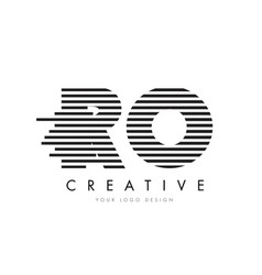 Ro r o zebra letter logo design with black and vector