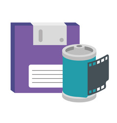 Roll camera with floppy nineties retro isolated vector