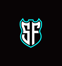 s f initial logo design with shield shape vector image