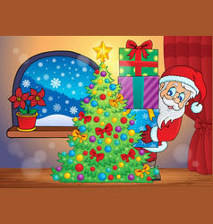 Santa claus indoor scene 7 vector