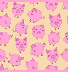 Seamless pattern with cute cartoon pink pigs on vector