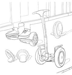Set Cartoon portable transportable Coloring book vector