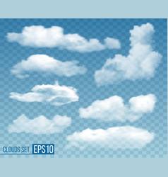 set realistic transparent clouds vector image