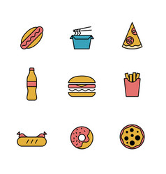 set simple colored delicious sweet food icon vector image