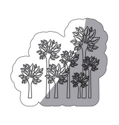 Silhouette trees with stem in form hand icon vector