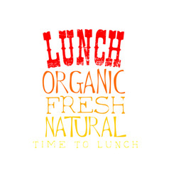 sketch style emblem for lunch menu organic vector image