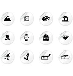 Stickers with Switzerland symbols vector image