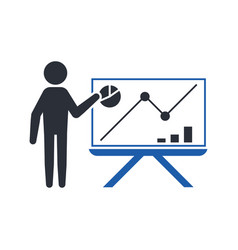 stickman shows the analyst the increase in the vector image