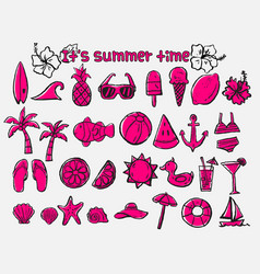 Summer time doodle icon set vector