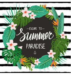 template with tropic plants exotic flowers and vector image