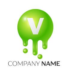 V letter splash green dots and bubbles letter vector
