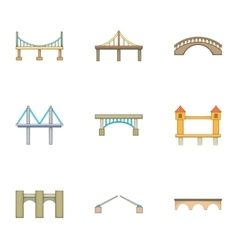 Various types of bridges icons set cartoon style vector