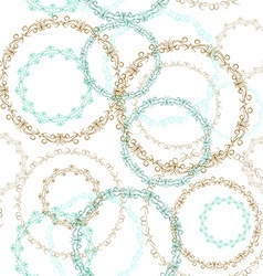 Vintage seamless patern blue brown circle on white vector