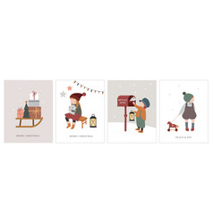 Vintage style cute scandinavian winter kids vector