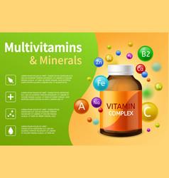 Vitamin complex realistic plastic bottle vector
