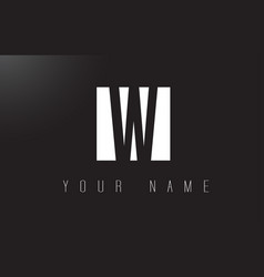 w letter logo with black and white negative space vector image