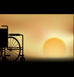 Wheelchair sunset vector