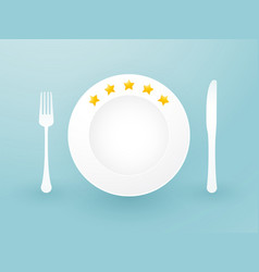 white plate with five stars and cutlery vector image