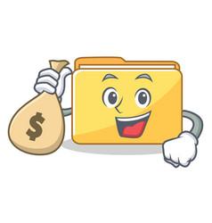With money bag folder character cartoon style vector