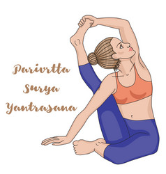women silhouette compass yoga pose parivrtta vector image