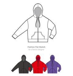 zip-up hoodie design template vector image