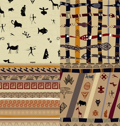 A set of patterns primitive tribal painting vector image
