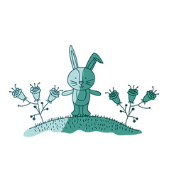 aquamarine hand drawn silhouette of bunny in hill vector image vector image