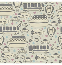 Cute seamless pattern with transport Cartoon vector image vector image