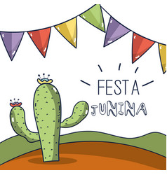 desert landscape with a cactus in the festa junina vector image vector image