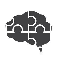 Flat black brain icon vector