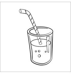 glass of juice cartoon - line drawn vector image