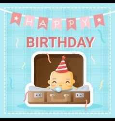 Happy birthday card with cute baby 2 vector image vector image