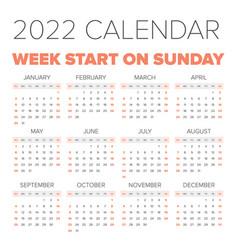 simple 2022 year calendar vector image vector image