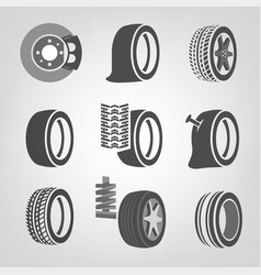 tire shop icons vector image