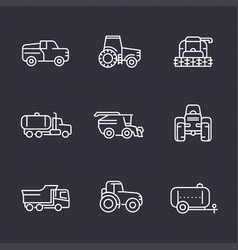 agricultural machinery line icons set vector image