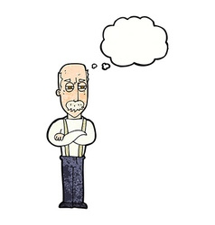 Cartoon annoyed old man with thought bubble vector