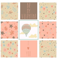 Set of romantic seamless patterns vector image vector image