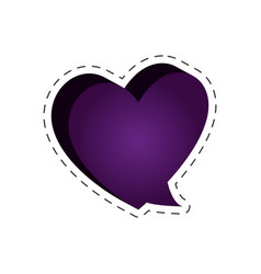 speech bubble heart shape cut line vector image