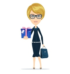 Business woman holding a gift for you vector image vector image