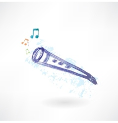 classic flute grunge icon vector image